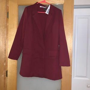 Long maroon blazer